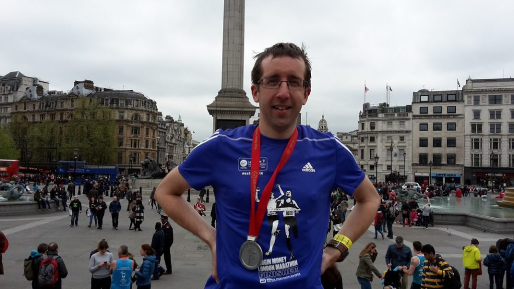 after the london marathon at trafalguar square